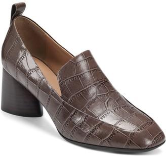 Aerosoles Croco Leather Wide Heel Loafer Pumps- Mariah