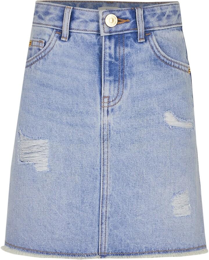 River Island Age 13+ girls Blue ripped denim skirt