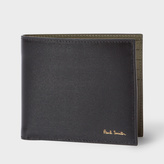 Paul Smith Men's Black Leather Saffiano Stripe Billfold Wallet With Khaki Interior