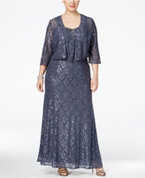 Alex Evenings Plus Size Embellished Lace Gown and Draped Jacket