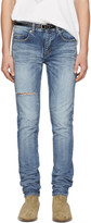 Saint Laurent Blue Ripped Low-waisted Skinny Jeans