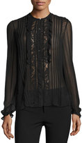Rebecca Taylor Lace-Trim Chiffon Shirt, Black
