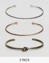 Asos Bangle Pack In Mixed Finish
