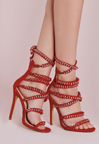 Missguided Woven Chain Heeled Sandals Red
