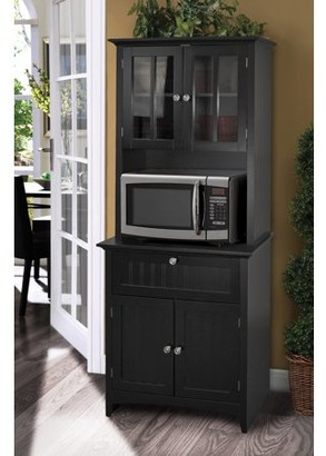 URBAN RESEARCH Os Home & Office Furniture OS Home and Office Buffet and Hutch with Framed Glass and Drawer in Black
