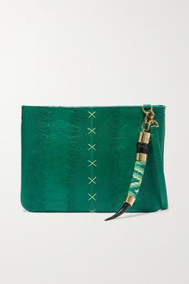 Okapi - Embellished Ostrich Clutch - Green