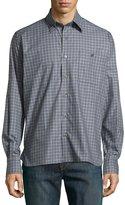 Ike Behar Check Sport Shirt, Gray/Blue