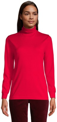 Lands' End Women's All-Cotton Relaxed Seamless Turtleneck