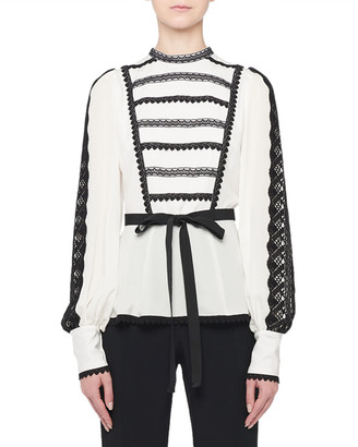 Andrew Gn Long-Sleeve Lace-Striped Ribbon Waist Blouse