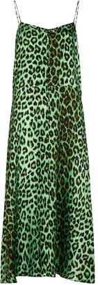 La Prestic Ouiston Rose leopard-print silk slip dress