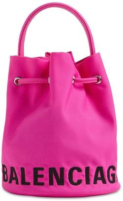 Balenciaga Xs Wheel Logo Print Nylon Bucket Bag