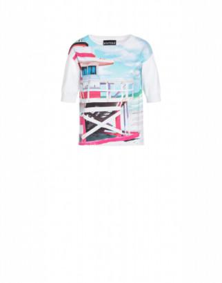Boutique Moschino Beach Postcard Stretch Cotton Blouse