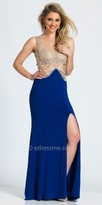 Dave and Johnny Dazzling Embellished Plunging Back Evening Dress