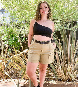 Asos DESIGN Curve utility safari short with belt in olive