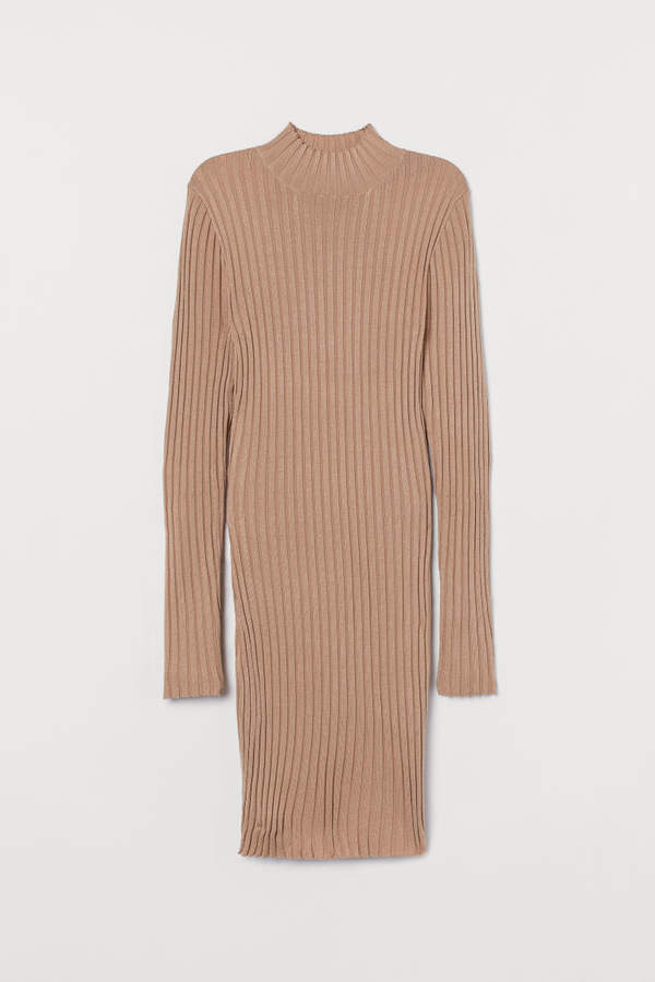 H&M Ribbed Turtleneck Dress - Beige