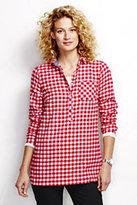 Classic Women's Petite Flannel Tunic Top-White