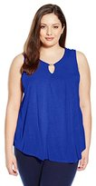 Ellen Tracy Women's Plus-Size Hardware Keyhole Knit Shell
