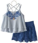 Knitworks Girls 7-16 Tiered Embroidered Top & Shorts Set with Necklace