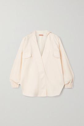 Johanna Ortiz Old World Wrap-effect Stretch-cotton Poplin Shirt - Ivory