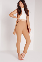 Missguided High Waist Cigarette Pants Camel