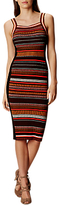 Karen Millen Texture Stripe Knit Dress, Red/Multi