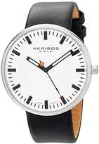 "Akribos XXIV Men's AK733WT ""Essential"" Stainless Steel Watch with Black Leather Band"