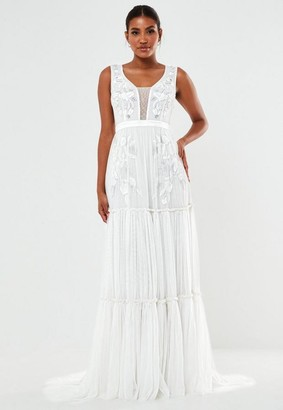 Missguided Hand Beaded Tiered Wedding Dress
