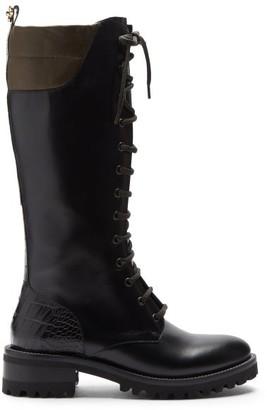 Fabrizio Viti - Gabel Lace-up Leather Knee Boots - Black Multi