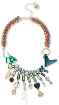 Betsey Johnson Gold-Tone Multi-Stone Fish Statement Necklace