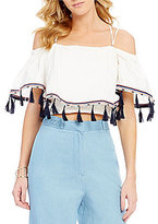 GB Tassel Trim Off-The-Shoulder Embroidered Cropped Blouse