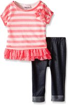 Little Lass Girls 3 Pc Capri Set Stripe Lace