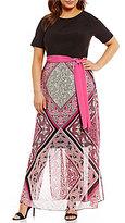 Jessica Howard Plus 3/4-Sleeve Printed Maxi Dress