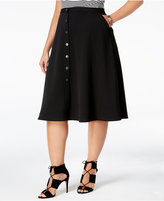 NY Collection Plus Size Button-Front A-Line Skirt