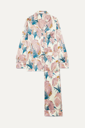 Olivia von Halle Lila Crystal-embellished Printed Silk-satin Pajama Set - Lilac