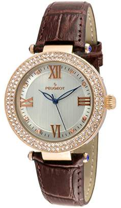 Peugeot Women's 14K Rose Gold Plated Roman Numeral Silver Textured Face Leather Band Dress Watch