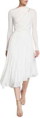 Halston Prisma Long-Sleeve Asymmetrical Jersey Dress