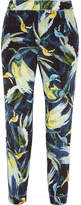 Erdem Giulia Cropped Printed Silk Crepe De Chine Slim-leg Pants - Midnight blue