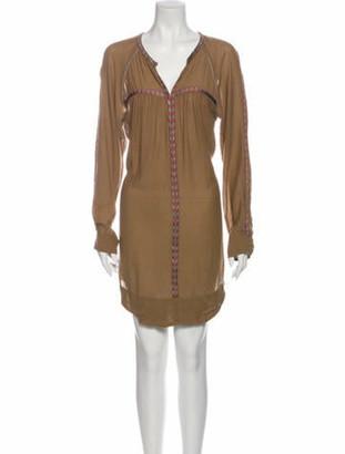 Etoile Isabel Marant V-Neck Knee-Length Dress Brown