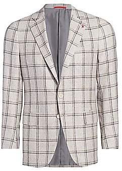 Isaia Men's Plaid Silk & Wool Jacket