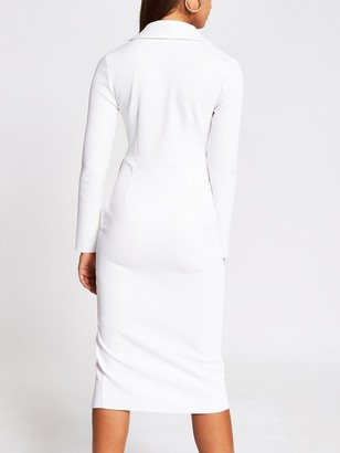 River Island Scuba Plunge Bodycon Midi Dress - White