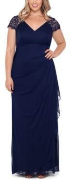 Xscape Evenings Plus Size Lace-Shoulder Gown