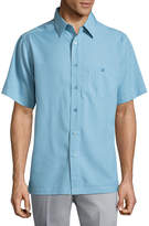 Haggar Short Sleeve Plaid Button-Front Shirt-Big and Tall