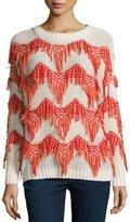 Christophe Sauvat Tippi Sweater W/Fringe, Off White/Mandarin