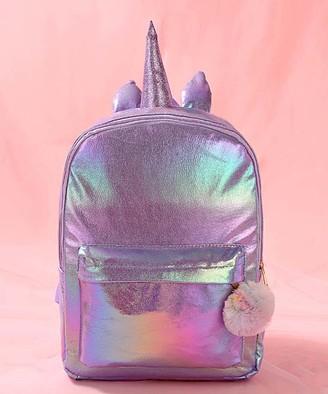 Ella & Elly Women's Backpacks Purple - Purple Holographic Unicorn Horn Backpack