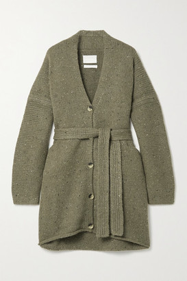 LAUREN MANOOGIAN Net Sustain Grandpa Belted Melange Merino Wool-blend Cardigan - Army green