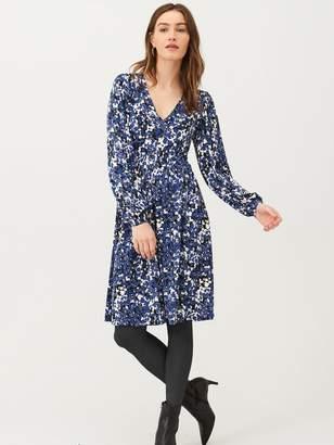 Very Printed V Neck Jersey Mini Dress - Blue