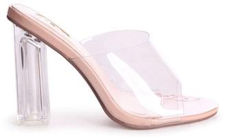 Linzi Olinda Nude Patent Perspex Mule With Plastic Block Heel