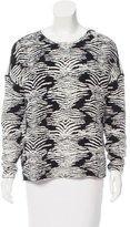 Maje Long Sleeve Patterned Sweater