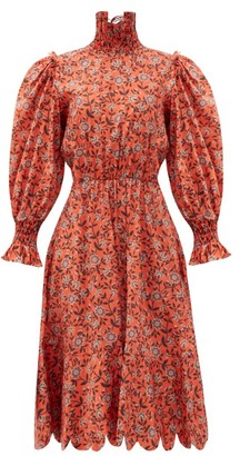 Horror Vacui Collia Smocked Floral-print Cotton Dress - Red