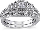 MODERN BRIDE 1/4 CT. T.W. Diamond Sterling Silver 3-Stone Bridal Ring Set